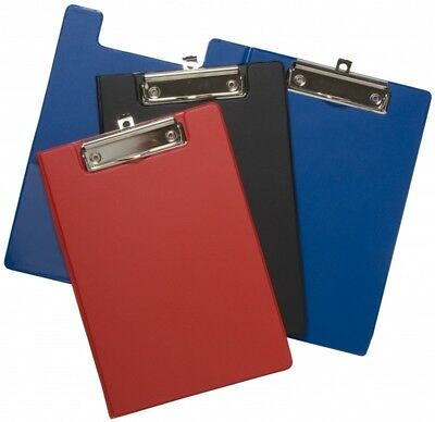 CLIPBOARDS - A4 BLACK, BLUE RED SOLID or FOLDOVER PVC CLIP BOARD OFFICE SCHOOL