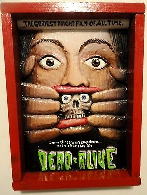 Dead Alive > handmade wood carved poster by DM Kirwin > horror folk art