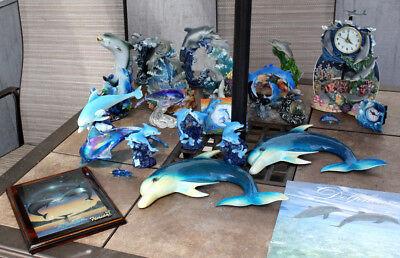 Huge 25 pc Lot Collection of DOLPHIN PLAYING figurine Figurines Clock,WaterFall
