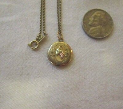 Vintage Gold Filled Locket Looks Like Black Hills Gold Leaves 24 Inch G F Chain