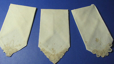 3 Vintage White Cotton Ivory Embroidered Applique Lace Hankies Butterfly  M2