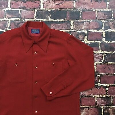 Vtg Pendleton Shirt Wool Red Flannel Long Sleeve Button Down Mens Large