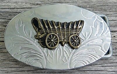 Covered Wagon Western Pioneers 1970's Small Vintage Belt Buckle