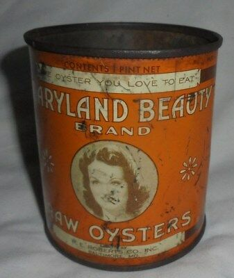 Vintage Maryland Beauty oysters tin 1 pint size