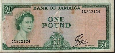 JAMAICA 1 Pound (1960-64) Pick 51Ca, Very Fine  *RARE*