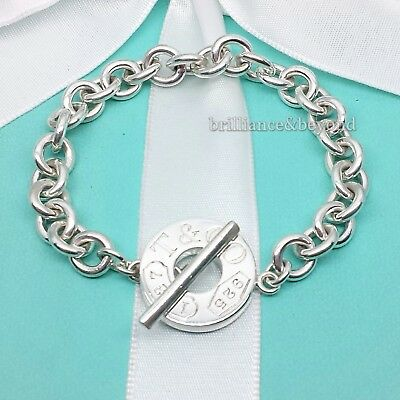 8ae4f3993 Tiffany & Co. 1837 Toggle Clasp Round Circle Charm Bracelet 925 Sterling  Silver