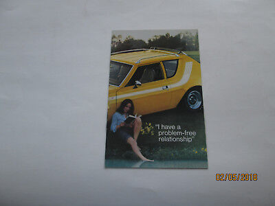 "1974 AMC brochure ""I have a problem-free relationshiip""  'woman's point of view'"