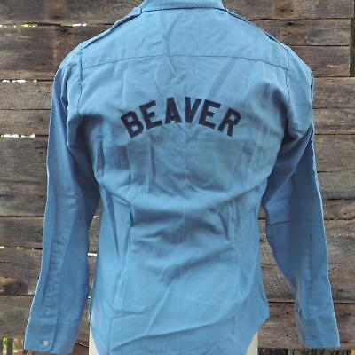 Vintage Mens Beaver Blue Long Sleeve Work Shirt Size M