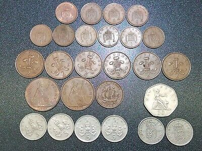 24 UK Great Britain Coins 1950s-1980s Penny, New Pence, Shilling & More #GC512G