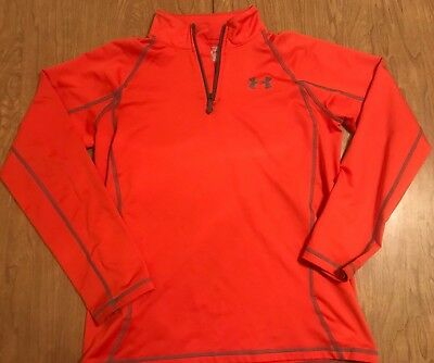Under Armour Youth Size Large 1/4 Zip L/s Thin Orange Jacket Cold Gear Euc