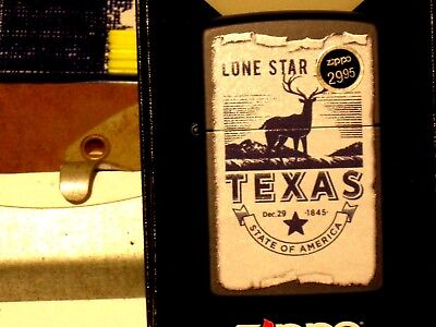 New Windproof Flame USA Zippo Lighter 14589 Texas Lone Star State Navy Matte Cs