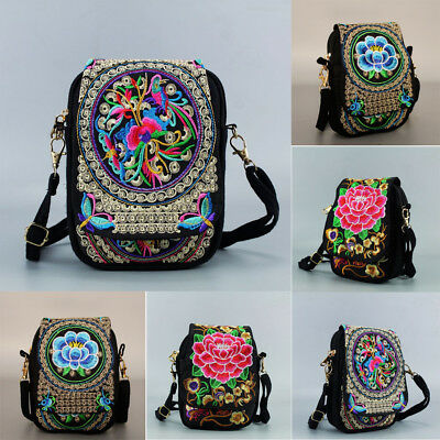 Women Retro Travel Pouch Floral Embroidered Zip Bag Crossbody Shoulder Bag USA