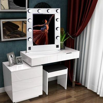 White Large Hollywood Makeup Vanity Mirror w/ Light Dimmer Stage Beauty Mirror A