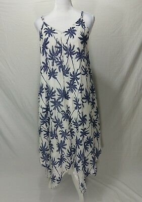 Women's India Botique One Size White And Blue Palm Tree Dress / Cover-up Beach