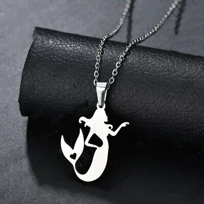 Fashion Charm  Mermaid Silver 316L Stainless Steel Titanium Pendant Necklace W25