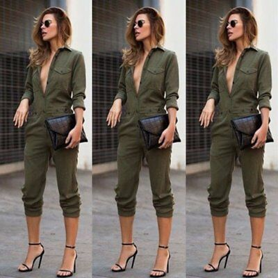 Women's Ladies Summer Army Green Playsuit Bodycon Party Jumpsuit Romper Trousers