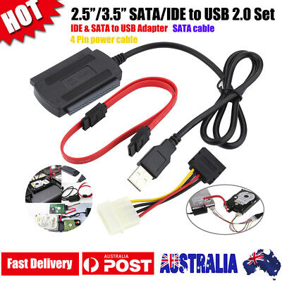 2.5/3.5 SATA/IDE to USB 2.0 Adapter Cable Set for Hard Disk Drive CD DVD ROM New