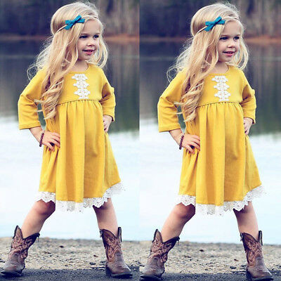 AU Kids Baby Girls Long Sleeve Party Short Dress Summer Clothes Outfits Sundress