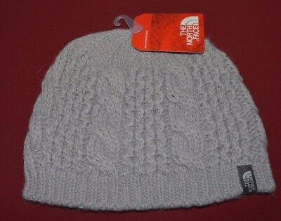 47670a8f47786 North Face Women s Beanie Hat Knit Cable Minna One Size Metallic Silver New   35
