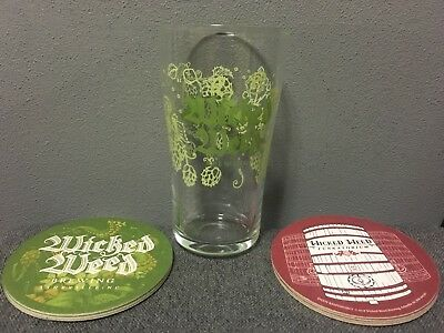 Wicked Weed Brewing Company beer Glass & 8 Coasters  BRAND NEW