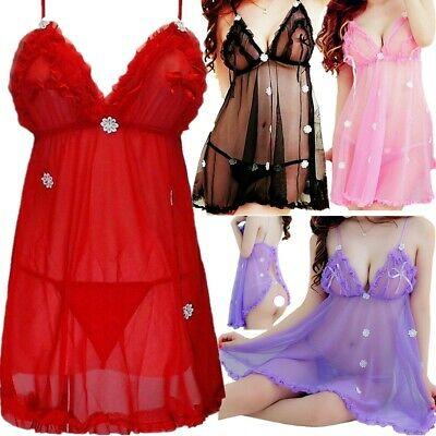 Women Sleepwear Dress Sexy-Lingerie Nightwear Babydoll Lace Mini Dresses+Panties
