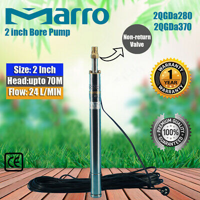 NEW MARRO Stainless Steel 2 inch Bore Pump Deep Well Upto 70m Head, 24l/min Flow