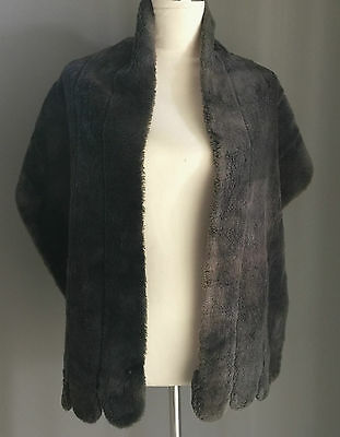 VINTAGE RETRO 1940's / 1950's Faux Fur Dark Grey Stole