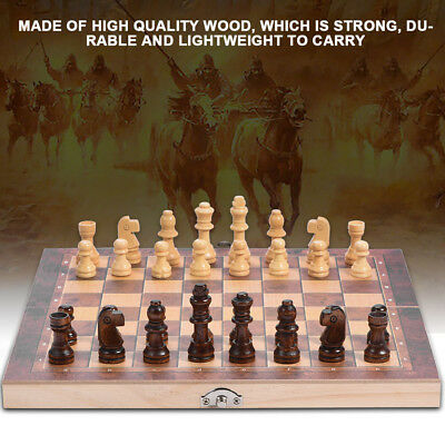 Wood Chess Wooden Magnetic Board Hand Crafted Folding Chessboard Travel Game KIT