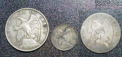 Lot Of 3 Silver Coins Of Chile, 1 Peso 1915, 10 Centavos 1909, 20 Centavos #fa31