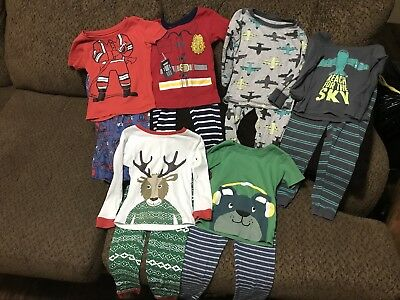 Lot of 6 Toddler Boys Carters 2-piece Pajamas Sets Tops & Bottoms Size 4T