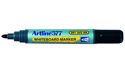 Artline 577 WHITEBOARD MARKER 12Pieces 2mm Point, Dry Safe Ink, Bullet Nib BLACK