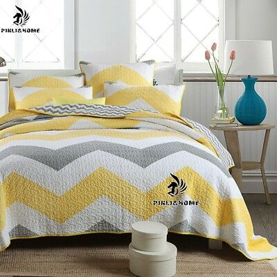 3PCS Vintage Yellow Waves Cotton Quilt Coverlet Bedspread Set KING