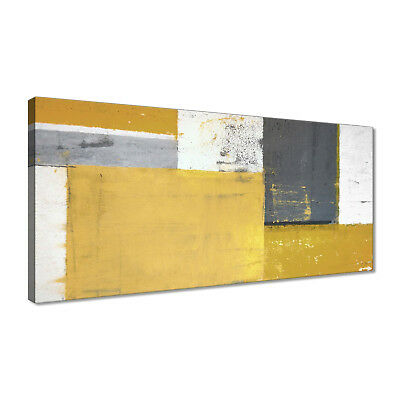 Mustard Yellow Grey Abstract Painting Canvas Wall Art Print Pictures Unframed UK