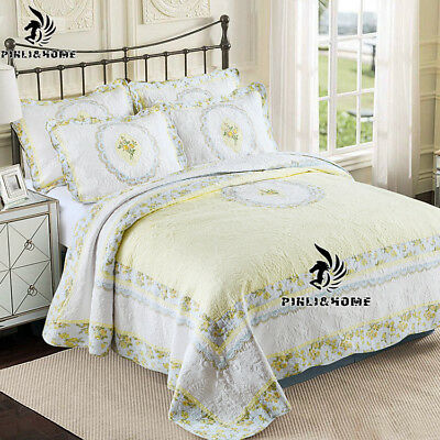 Vintage Hand embroidered Cotton Quilt Coverlet Bedspread Set 3PCS QUEEN KING