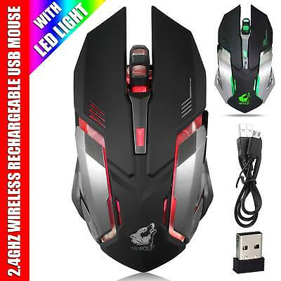 USB Wireless Optical LED Laser Light Ergonomic Gaming Mouse Rechargeable X70