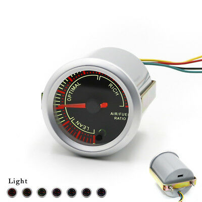 "2"" 52mm 7 Color Air Fuel Ratio Car Gauge Mechanical Meter Black Dial Face"