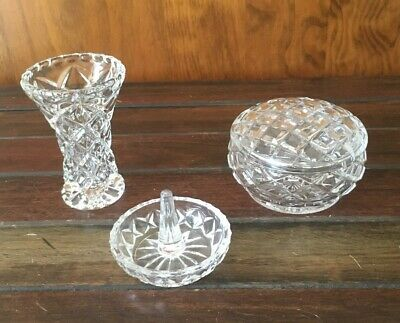 Vintage crystal glass ring holder -dressing table display