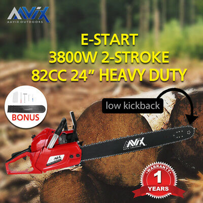 AAVIX 82cc Petrol Commercial Chainsaw 24''  Bar Chain Saw E-Start Pruning
