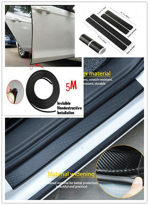 Car Door Sill Scuff Welcome Pedal Protector Carbon Fiber Sticker w/5M Edge Guard