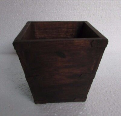 Vintage Old Handcrafted Iron Fitted Wooden Pot / Planter Collectible