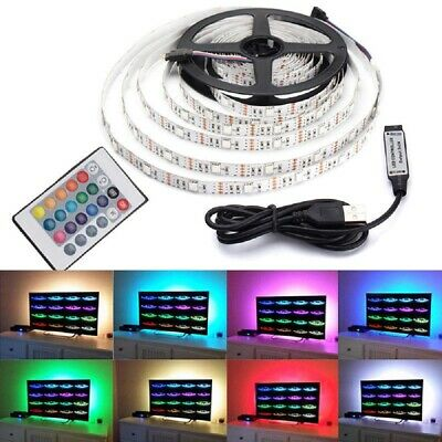 1M-5M RGB 5050 LED Strip Light 5V USB Color Changing TV Back Lighting + Remote