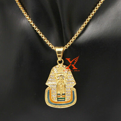 """24"""" Men's Stainless Steel Gold Iced Out Pharaoh  Tut Pendant Necklace Box Chain"""
