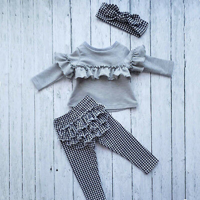 Children Kids Baby Girl Cotton Ruffle Plaid Tops Pants Headband Outfits Clothes