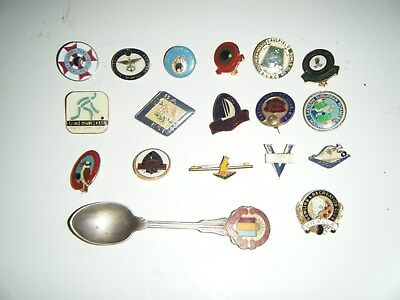 Bulk 17 vintage bowling club badges & a teaspoon