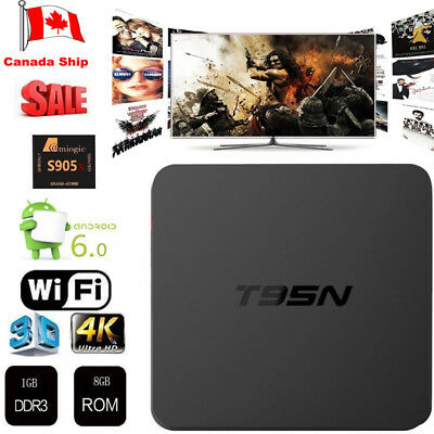NEW T95N Smart TV Box 4K 3D S905X 2.0GHz 4-Core Android 6.0 1G+8G CA Seller