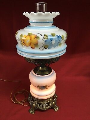 Antique Glass Brass Electrified Oil Kerosene Parlor Lamp Hand Painted Floral