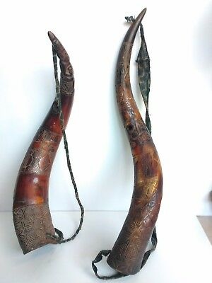 Pair of African Carved Trumpet Horns