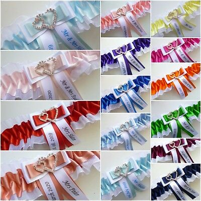Personalised Wedding/hen Garter Choice Of Colours And Sizes + Free Post