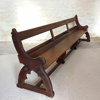 C19th Gothic Pugin Revival Oak Bench Pew - 11ft (Antique Victorian)
