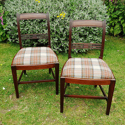 Regency Pair of Mahogany Tartan Moons Upholstered Dining Chairs C1810